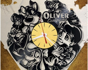Oliver and Company wall record clock/Disney clock vinyl *V0406 /Modern clock/Disney gift/Kids clock/Vinyl wall clock/Unique Gift