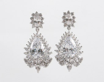 MONICA - Wedding Earrings, Chandelier Bridal Earrings, Vintage Wedding, Dangle Earrings, Swarovski Crystal Earrings, Pearl Earrings cz