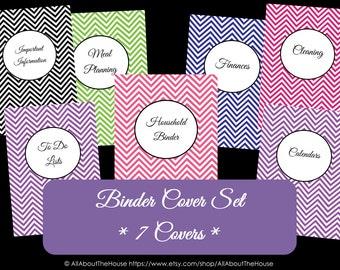 Personalised Binder Covers and Spines - Monogram Chevron Household Binder - Home Binder - Recipe Binder - School Binder Printable