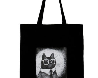 Cat in glasses canvas tote black cotton, long handles reusable eco bag