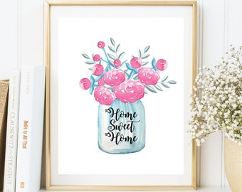 Instant Download, Home Sweet Home Printable Art, Home Sweet Home Wall Art, Home Decor, Printable Wall Art, Printable Quote,Floral Art(WA.47)