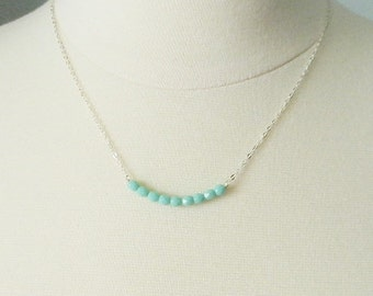 Mint bead necklace, Ava, delicate modern jewelry