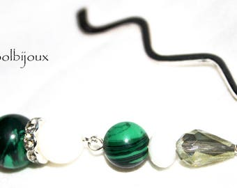 Bookmark with green malachite finesse