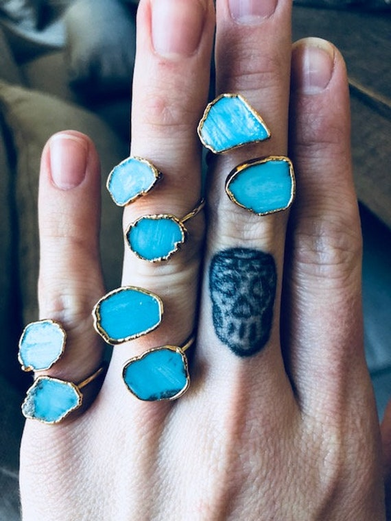 TURQUOISE WRAP RING/// Gold// Wire Band