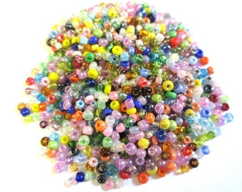 10 grams seed beads mixed color glass 2mm (about 800 beads)