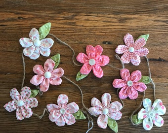 All the Pink fabric floral flower garland