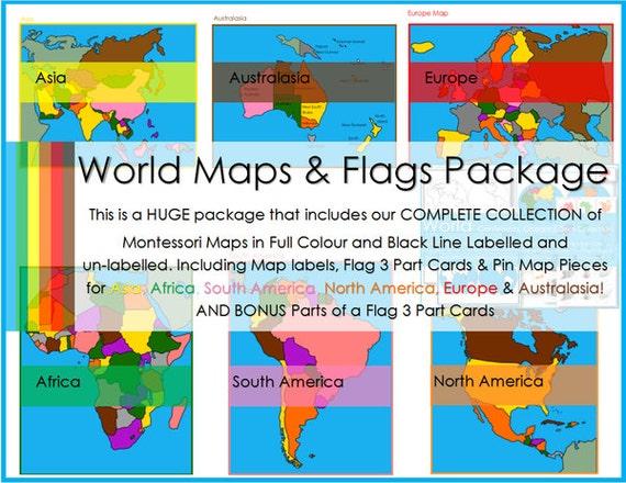 Montessori world continent maps flag 3 part cards pin map te gusta este artculo gumiabroncs Images