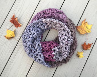 Infinity Scarf > Crochet Scarves > Knit Scarves > Chunky Crochet Scarf > Long Scarf > Infinity Knitted Scarves purple > Luna Infinity Scarf