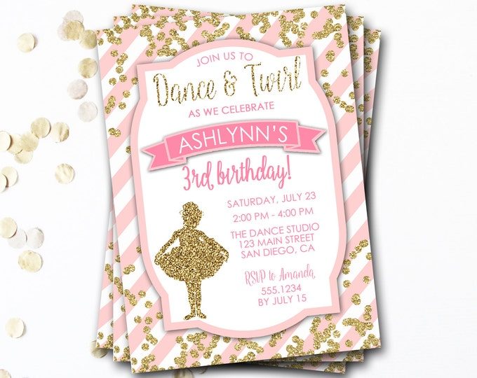 Ballet Birthday Invitation, Ballerina Birthday Invitation, Tutu Invitation, Pink And Gold Tutu, Ballerina Invitation, Ballet Invitation