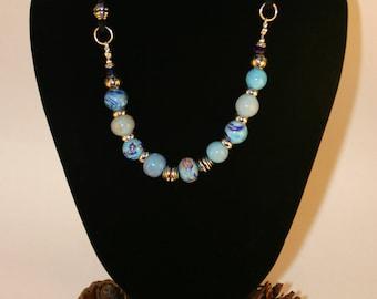 "Lampwork blue beads necklace ""Elisa"""
