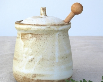 Ceramic Honey Jar, Ceramic Salt Cellar, Storage Jar, Pottery Honey Pot, Rustic Pottery, White Honey Jar, Pottery Jar, Ceramic Jar With Lid