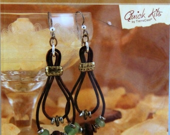 Kit, DIY Lasso Earrings, Leather, Brass and Beads DIY kit, Earring Kit, Make It Yourself Earring Kit, TieraCast Quick Kit, Lasso Kit