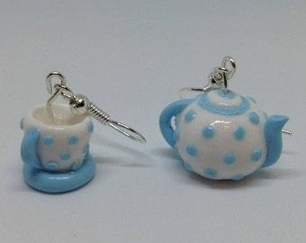 Blue Polka Dot Teapot and Teacup Earrings