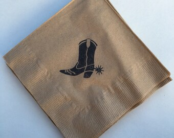 Cowboy Boot Beverage Napkins / Set of 50 / Perfect for Parties / Recycled Paper Product