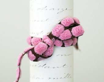 Bulk Pink bump chenille ribbon trim 10 yard roll