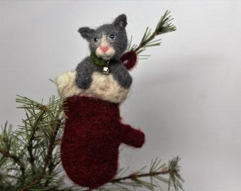Kitten in a mitten Christmas tree ornament needle felted