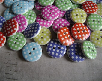 Buttons with polka dots