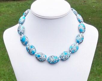 Mosaic Turquoise Necklace 25mm Turquoise Necklace Turquoise Oval Necklace Blue and White Turquoise Necklace Chunky Turquoise Necklace Unique