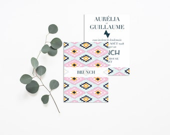 Printable Brunch Invitation - Wedding Brunch Card - Wedding Brunch - Brunch Card- Bohemian Wedding Brunch Card - Kilim Rug - Cactus wedding