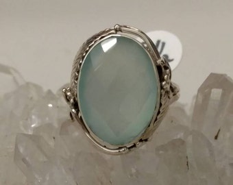 Faceted Aqua Chalcedony  Ring, Size  8 1/2
