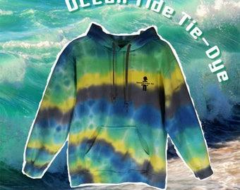 SALE Ocean Tide Sweatshirt Tie Dye Hoodie Womens Mens Gym Blue Clothing Surf Skateboard Tumblr Adidas Gift For Him Rainbow Warm Cozy Soft