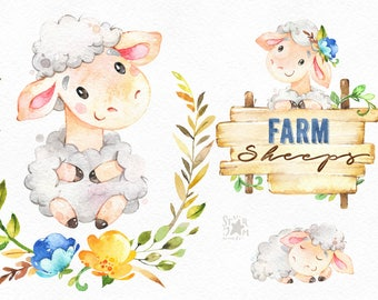 Farm. Sheeps. Watercolor country clipart, little lamb, floral wreath, ewe, cute, baby, planner, stickers, kids, flowers, frame, nature art