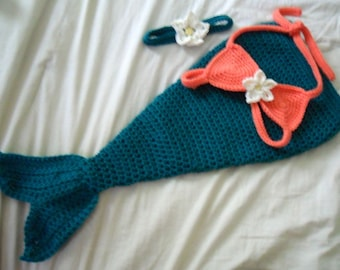 Baby Mermaid Costume - Baby Mermaid Outfit - Baby Mermaid Photo Prop - Newborn through 12 Months - Made to Order