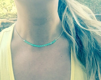 Turquoise Beaded Choker Necklace - White Chain - Seed Bead Necklace - Turquoise Necklace - Choker