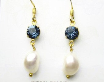 Crystal and Baroque Pearl Earrings