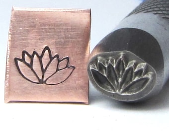 Flowering Lotus bloom 8 x 6 mm design stamp professional grade  with you in mind for stainless.