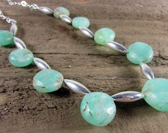 Chrysoprase & Sterling Silver Necklace, Gemstone Choker, Light Green Necklace, Boho Choker