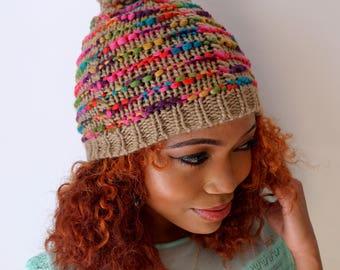 Knit Gray Beanie, Satin Lined Beanie Hat, Winter Multi Color Hat, Chunky Knit Beanie, Gray Confetti Pom Beanie