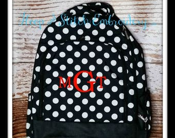 Black Dot Backpack Viv & Lou® Monogram, Viv and Lou Backpack, Personalized Backpack, Monogram Backpack, Personalized Backpack, Dot Backpack