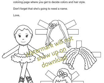 Ballerina Doll Coloring Page Paper Doll  | Toy on Round Loom | Loomahat