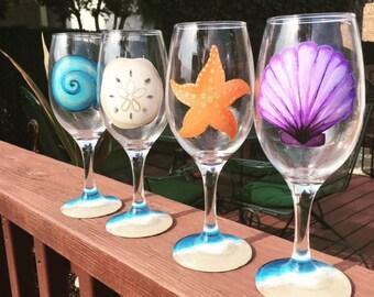 Beach wine glasses set of 4