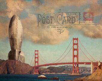 SF Golden Gate Bridge Rocket Ship Art Collage, San Francisco Print, Urban Photography Collage, SF Poster, San Francisco Art