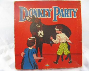 Vintage Donkey Party from Somerville with original box, There are 2 games in this box made in Canada