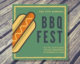 Green Bordered BBQ Fest Invitation - Printable