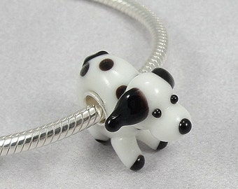 Puppy Dog Large Hole Lampwork Glass Bead - 925 Sterling Silver European Bead Charm