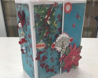 FLASH SALE Handmade christmas holiday scrapbook mini album