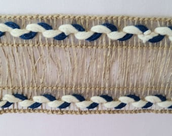 5 Yards Beige Trim with blue and white edging