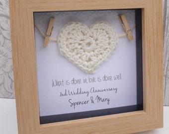 2nd anniversary gift, 2nd cotton anniversary gift, cotton anniversary, 2nd wedding anniversary present,2nd anniversary cotton, framed gift