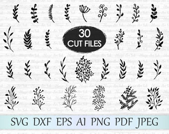 Leaf svg file, Leaves svg file, Branches svg file, Leaves clipart, Leaf cricut, Hand drawn leaves, Leaf silhouette, Foliage cut file, Plant