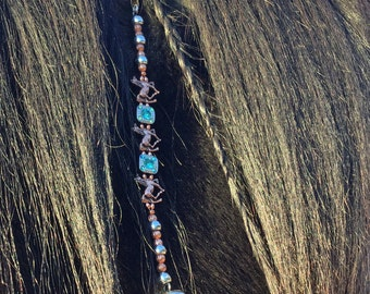 Rhythm Beads Mane Dangle Mane Clip Turquoise Crystal Bling Copper Horses Copper and Silver Artisan Original Design