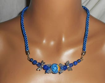 Blue floral Bead Necklace with Crystal on a cord beads