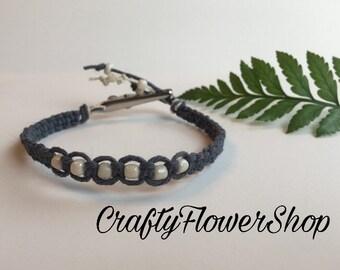 Blue hemp roach clip bracelet