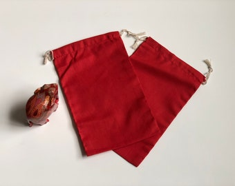 """10 pcs 6"""" x 10"""" RED Double Drawstring Bags - Red Velvet - Muslin Bags"""