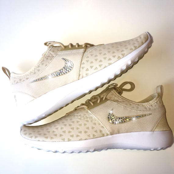 436ede7e2826 ... 100 Nike Oatmeal Swarovski Crystals Nude Nike Shoes Swarovski with White  w Bedazzled Crystals RESTOCKED Bling ...