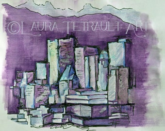 Stylized Cityscape  Original Mixed Media Painting - 12x16 Inches