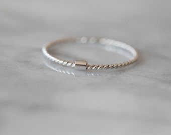 United - silver twisted band - stacking silver ring, minimalist sterling silver